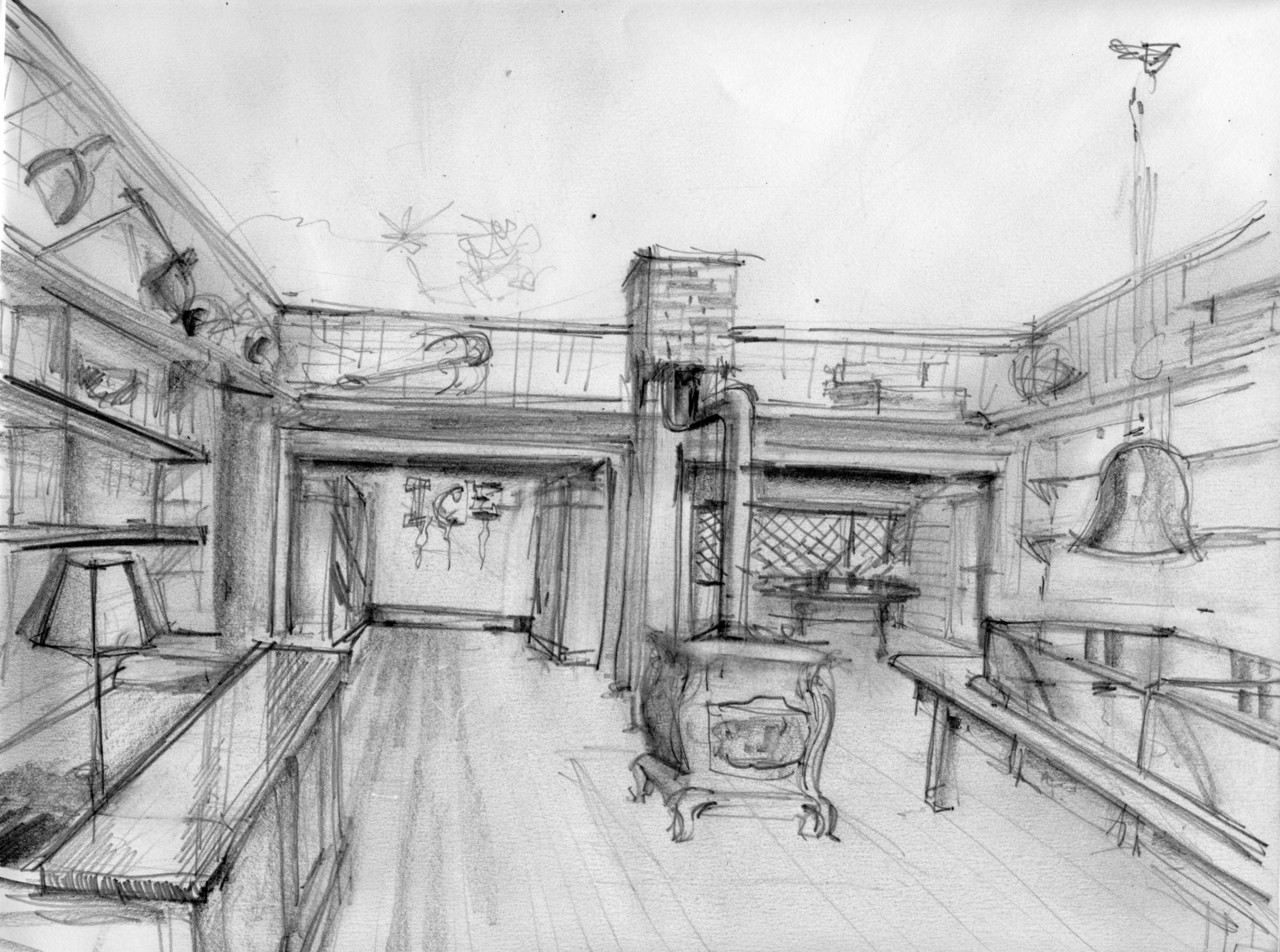 Greg Rogers' Drawing of Oysterville Store