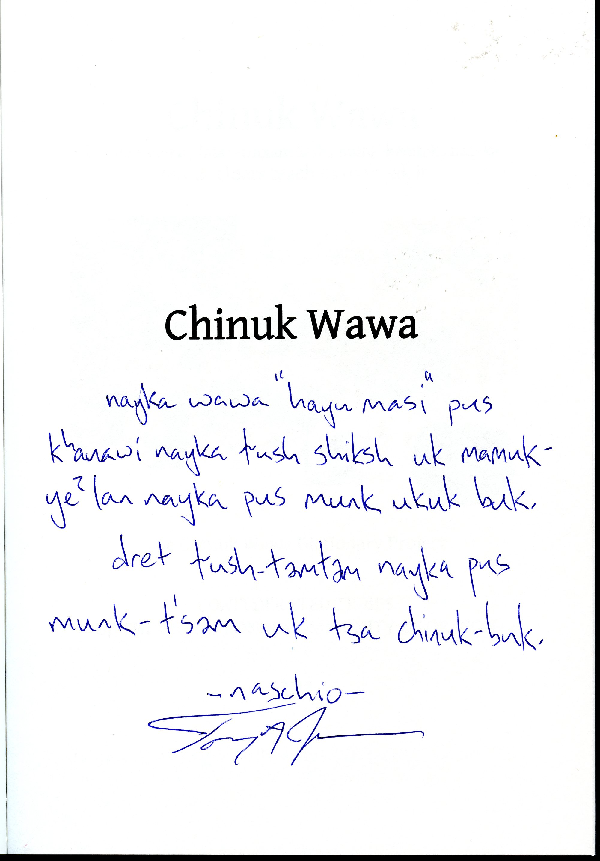Inscription by Tony Johnson