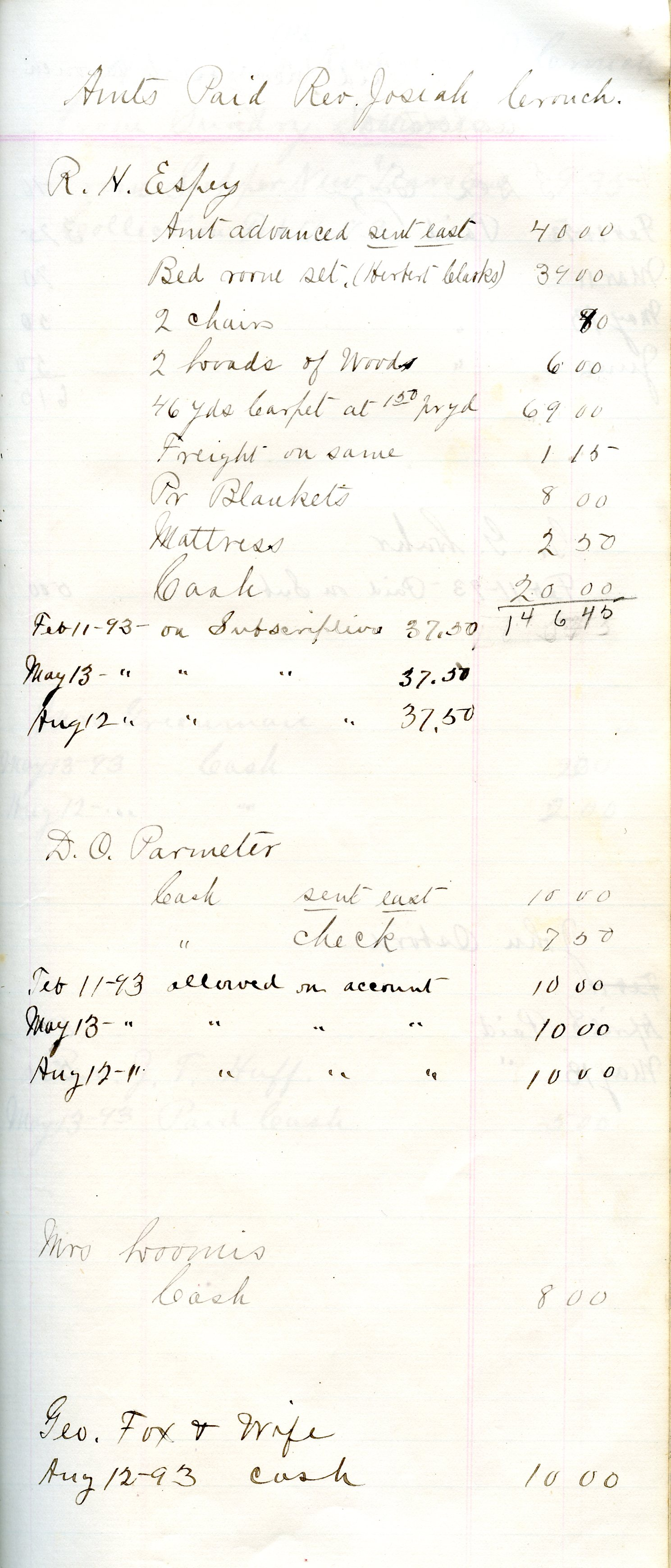 Oysterville Baptist Church Ledger Page, 1893