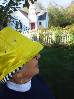 Sydney in Yellow Rain Hat
