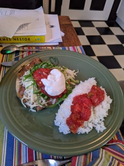 Tostada with Rice and Salsa